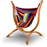 Gardeon Hammock Chair - 120kg Weight Supported Russia Imported Larch Wood Hammock Stand  Cotton and Polyester Hanging Chair for Home Garden Yard