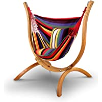 Gardeon Hammock Chair - 120kg Weight Supported Russia Imported Larch Wood Hammock Stand| Cotton and Polyester Hanging…