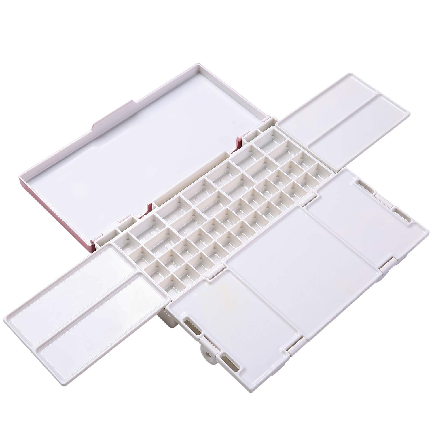 Acrylic /& Oil Paint MEEDEN Airtight Leakproof Watercolor Paint Palette Travel Portable Folding Palette Box with 4 Mixing Areas 38 Wells for Watercolor Pink