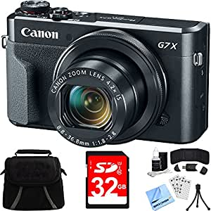 Canon PowerShot G7 X Mark II Digital Camera w/ Accessory Bundle includes Camera, Bag, 32GB SDHC Memory Card, Card Wallet + Reader, Mini Tripod, Screen Protectors, Cleaning Kit and Beach Camera Cloth