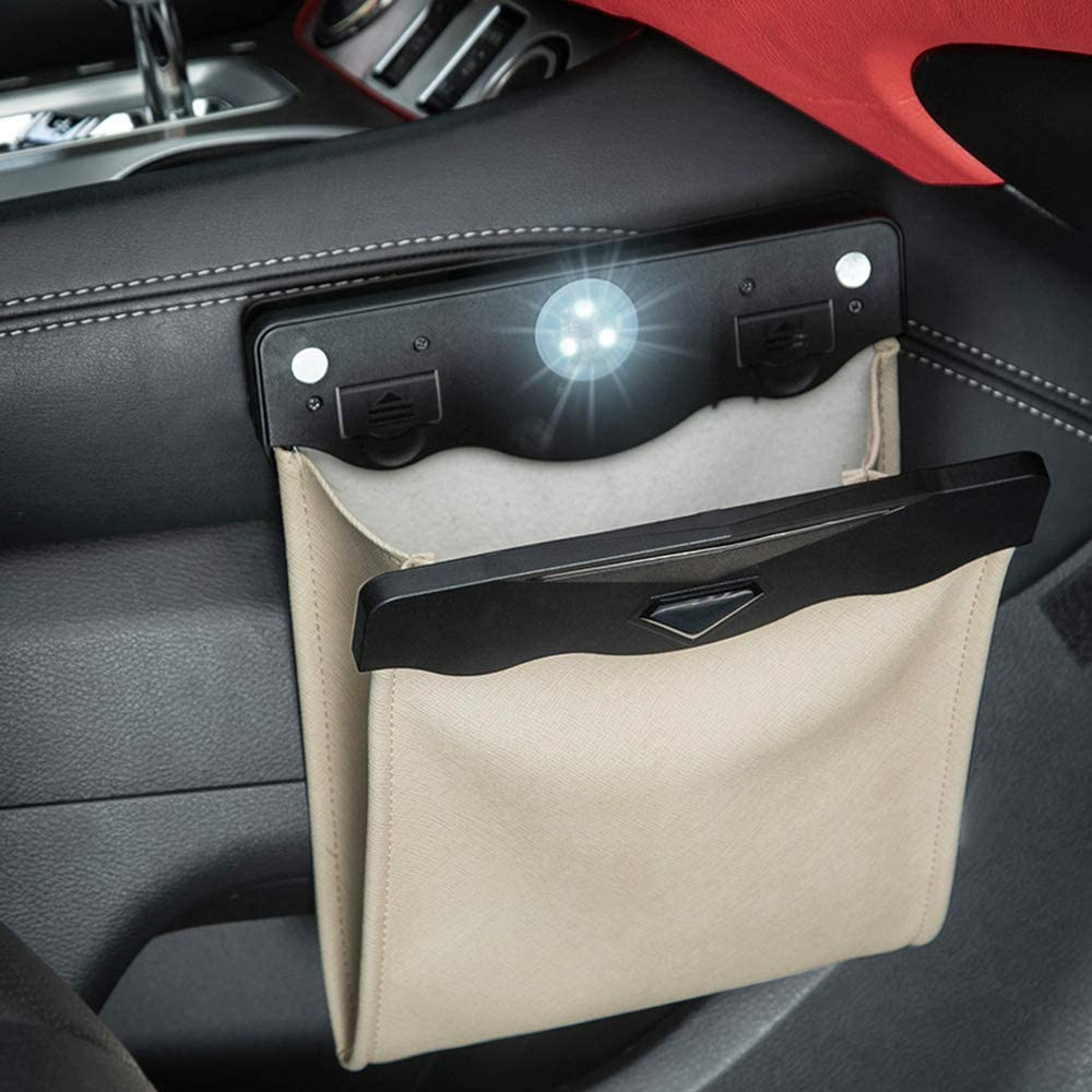 Smart LED Car Trash Can Waterproof Garbage Bag Passenger Side Artificial Leather Storage Pocket Leak Proof Reusable Traveling Portable Offices Toilet Garbage Cans Back Seat Hanging Beige-1pack