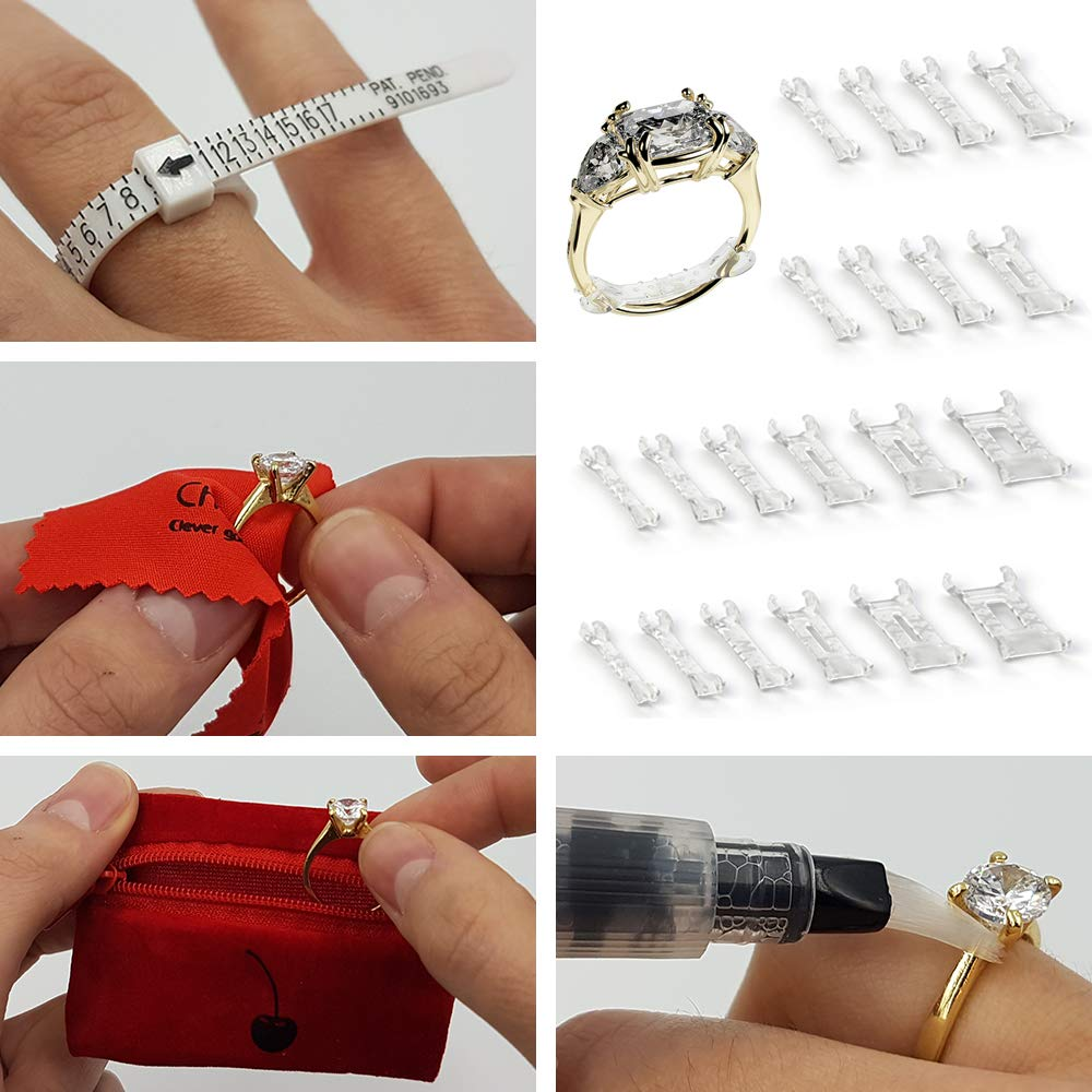 Jewelry Care Kit Invisible Clip-On Ring Size Adjusters Set of 20