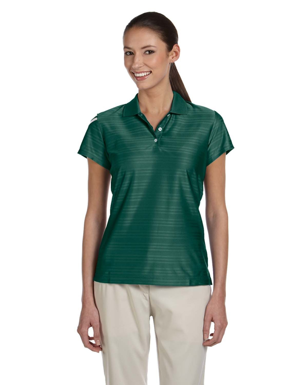 adidas Golf Womens Climacool Mesh Polo (A135) -Forest/WHI -S