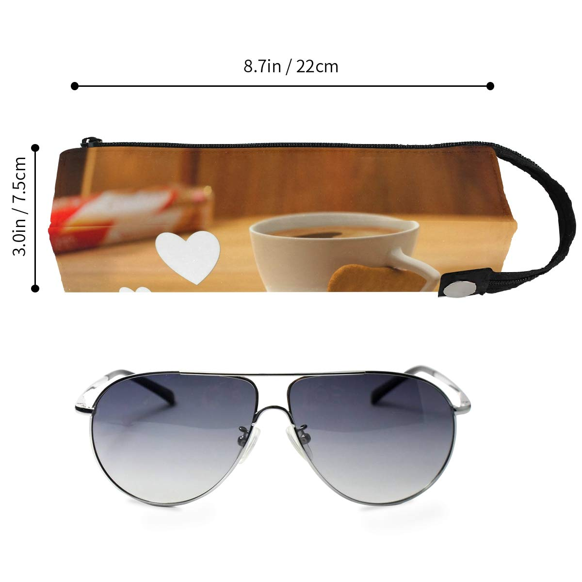 Glasses Case Loving Coffee and Cookies Portable Soft Sunglasses Pen Bag Protective Pouch