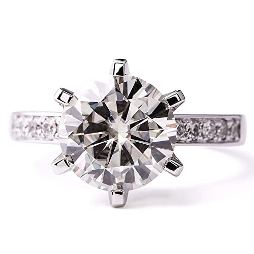 TransGems 5 Carat Moissanite with 1 Carat Lab Diamond Accent Engagement Ring Solid 14k White Gold 6 ...
