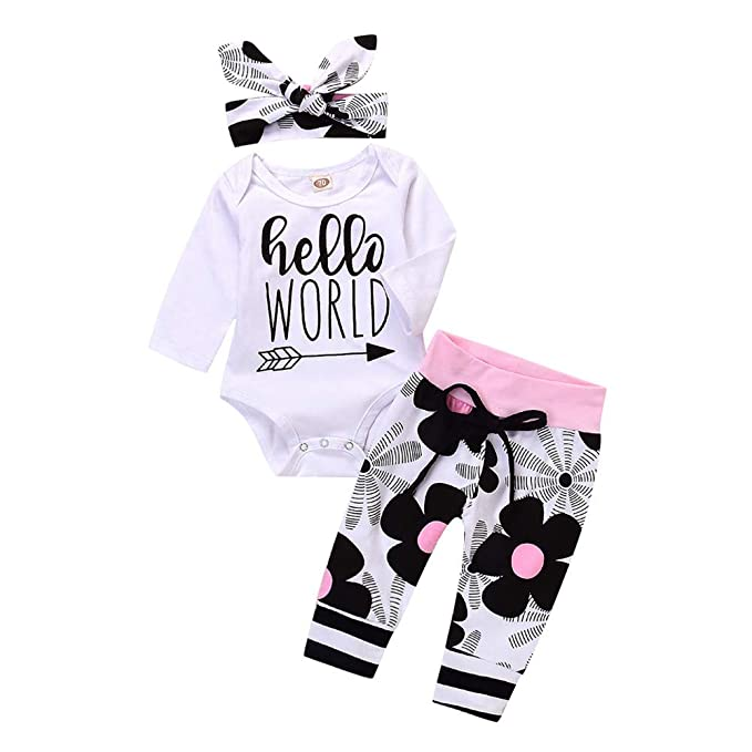 3967dff8379 Amazon.com  Photno Toddler Baby Boy Girl Clothes Floral Print Romper  Jumpsuit + Pants 2018 Cute Infant Outfit Set  Clothing
