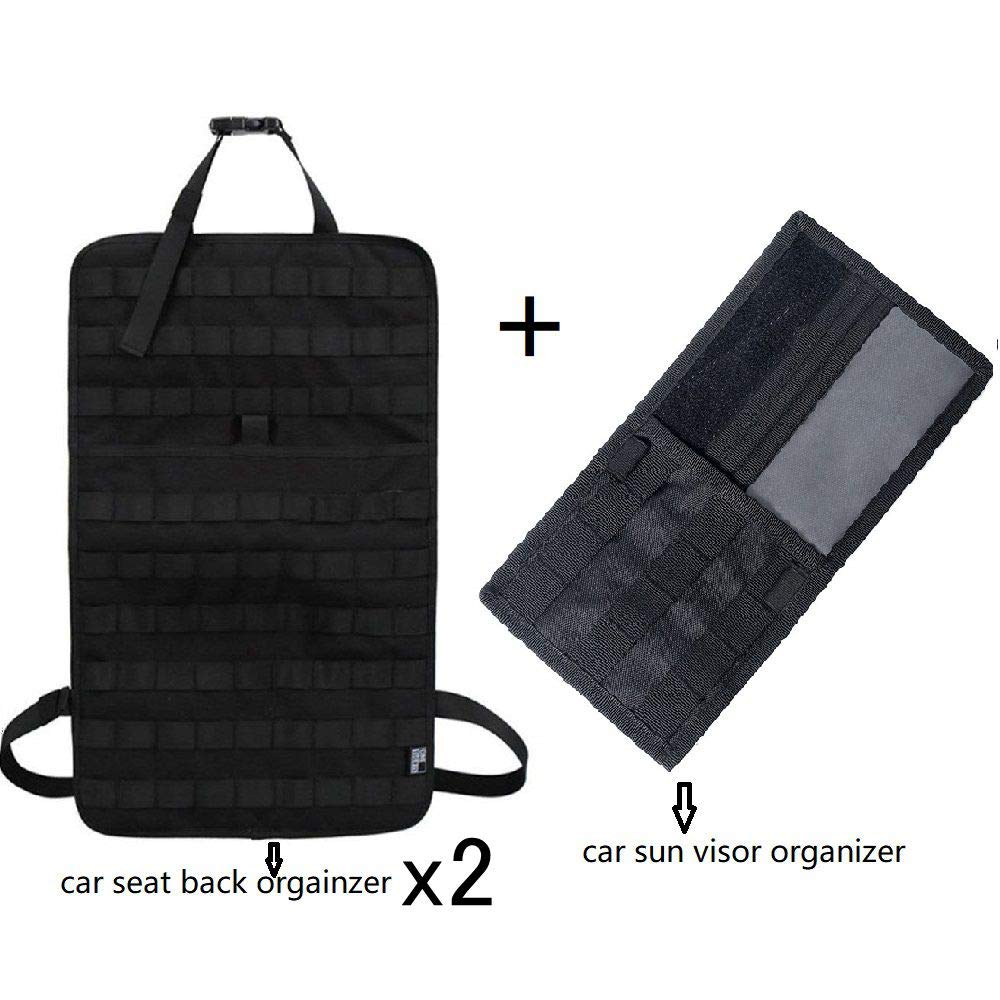 2pcs MOLLE Car Front Seat Organizer Vehicle Seat Cover Protector + 1pcs Tactical MOLLE Vehicle Visor Organizer