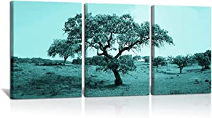 3 Piece Huge Tree Canvas Wall Art Teal Blue Big Tree Turquoise Forest Picture Autumn Natural Landscape Photo Artwork for Home Bathroom Bedroom Wall Decor Ready to Hang 12