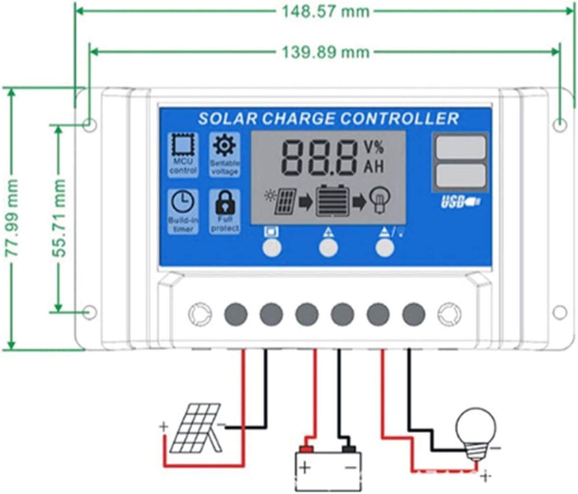 Professionnel Double USB 12V FRjasnyfall 24V 10A Contr/ôleur de Panneau Solaire R/égulateur de Charge de Batterie R/égulateur daffichage LCD R/égulateur Solaire Noir et Bleu
