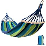 "Easy Eagle Hamacs Anti-Rollover Travel Camping Canvas Hamac Outdoors Rainbow Stripes Swing Envoyer Tie Rope + Bag (78,74""x 39,37"" Single Blue Stripes)"