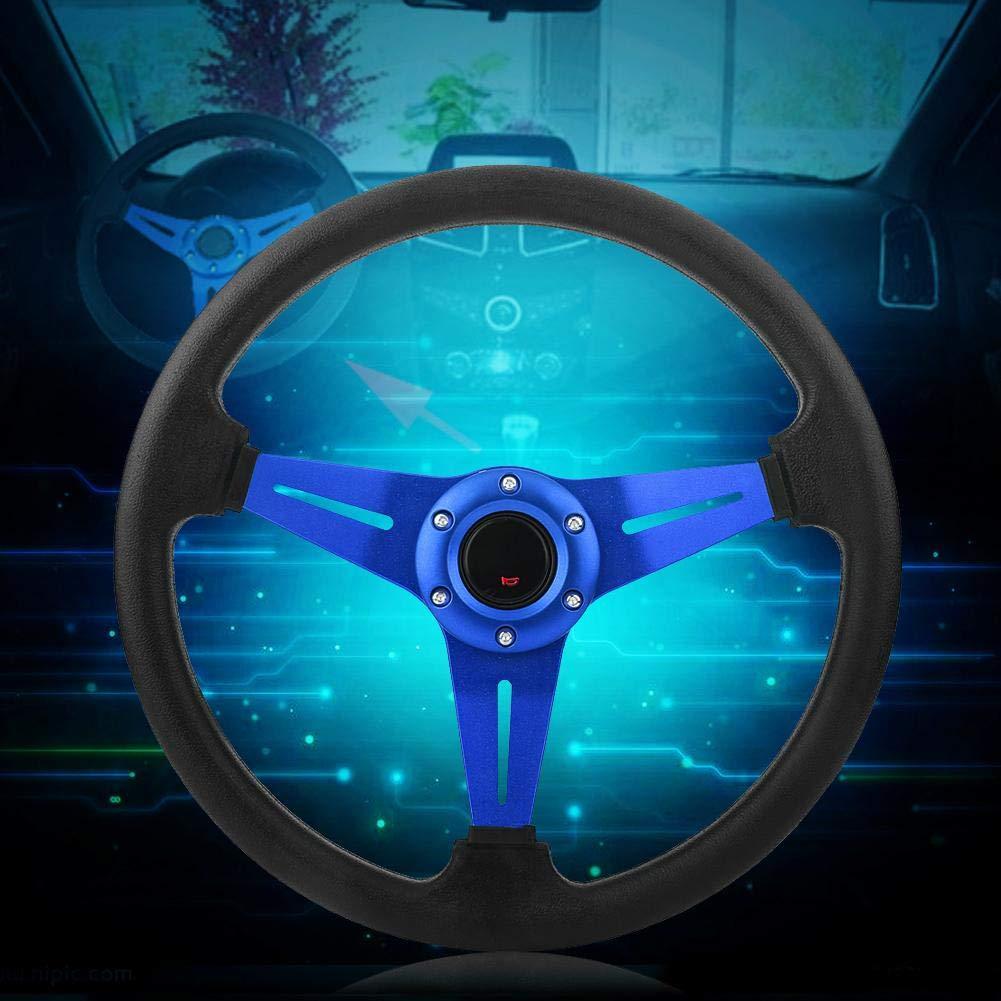 Universel pour la Plupart des Mod/èles de Voiture avec un Adaptateur de Moyeu de Course Standard /à 6 Vis pour la Modification de Voiture Volant en aluminium+cuir PU bleu