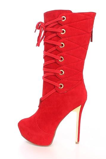 15e53f6e9ff Amazon.com   Alba Alice-3 Red Black Leopard Lace up High Heel Boots ...