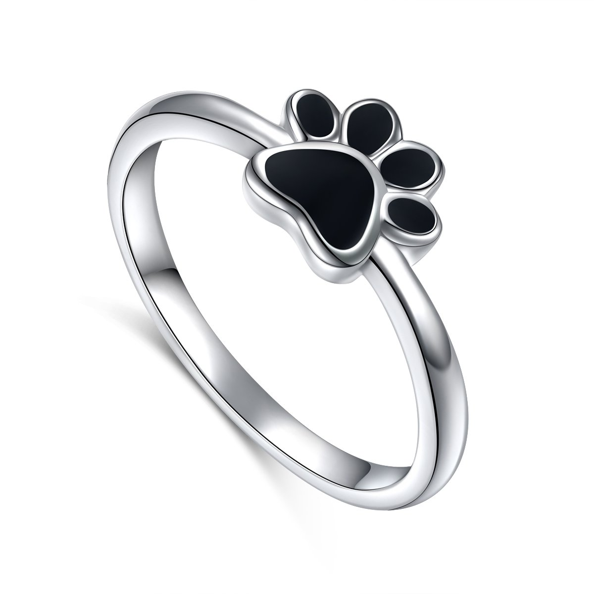 S925 Sterling Silver Jewelry Puppy Dog Cat Pet Paw Print Ring Size 7# by Ladytree