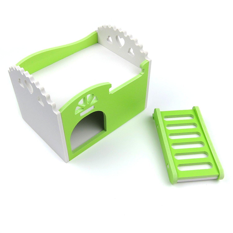 Zerodis Doppio Strato Casa dei Criceti Carino in Legno Letto con Scale Assemblare Hamster House Cuccia Nido per Piccoli Animali Nano Topi Gerbil Porcellino DIndia Blue