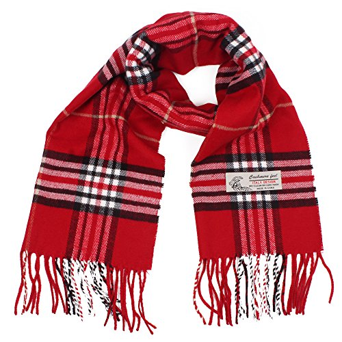 (Plaid Cashmere Feel Classic Soft Luxurious Winter Scarf For Men Women (Red))