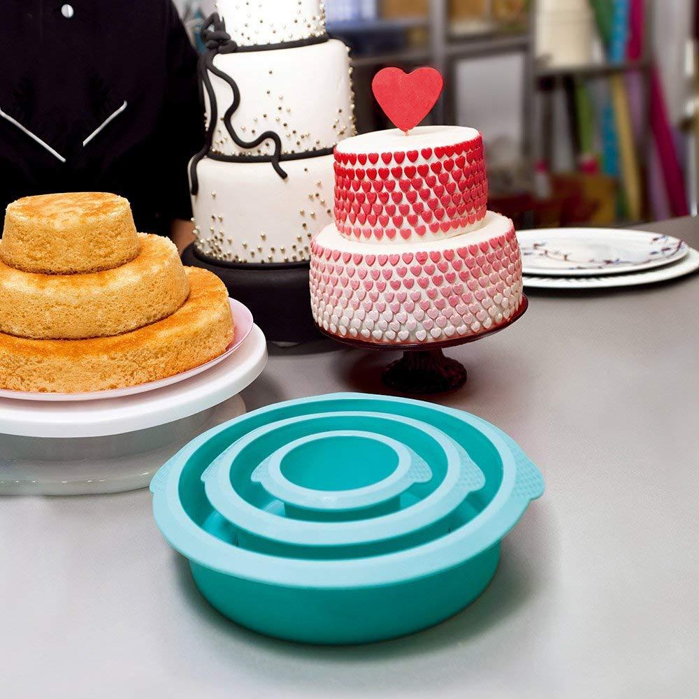 Webake 3 Tier Round Cake Mold Layer Cake Mold Bakeware Set for Birthday Party Wedding Anniversary