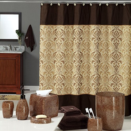"DS BATH Sterling Brown Shower Curtain,Chocolate Polyester Fabric Shower Curtain,Vintage Shower Curtains for Bathroom,Damask Bathroom Curtains,Print Waterproof Shower Curtain,72"" W x 72"" H"