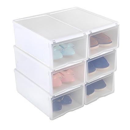 6X Cajas de Zapatos Apilable Plástico Transparente, 33 x 22 x 14cm Blanco