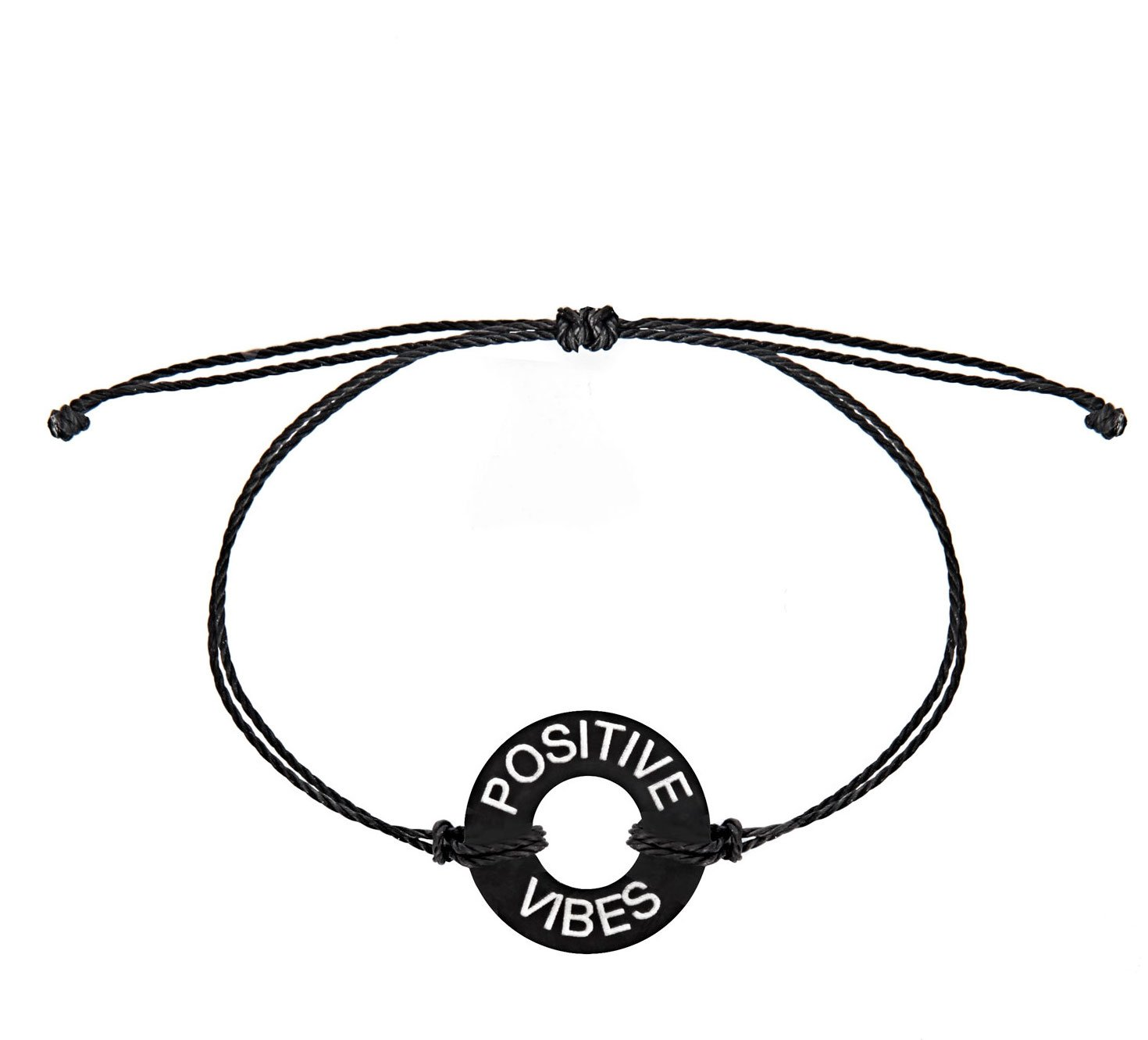 Life Token Custom Engraved Message Positive Vibes Novelty Jewelry Bracelet for Both Men and Women (Black Token with Silver Engraving)