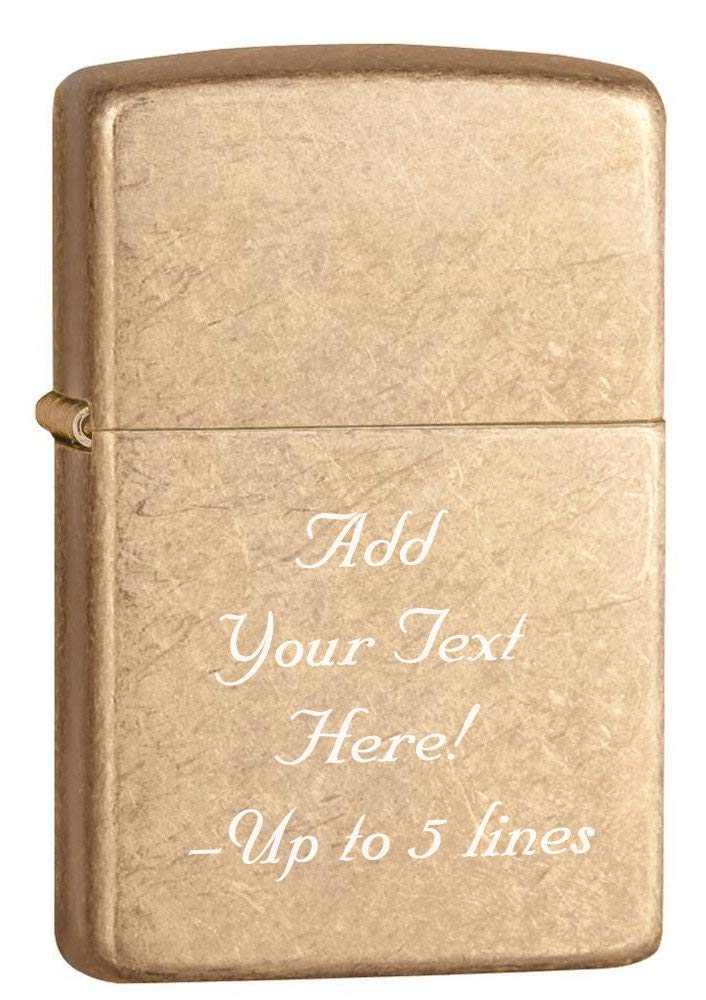 Zippo Tumbled Brass Armor Heavy Custom Personalize Engraving Message Windproof Lighter