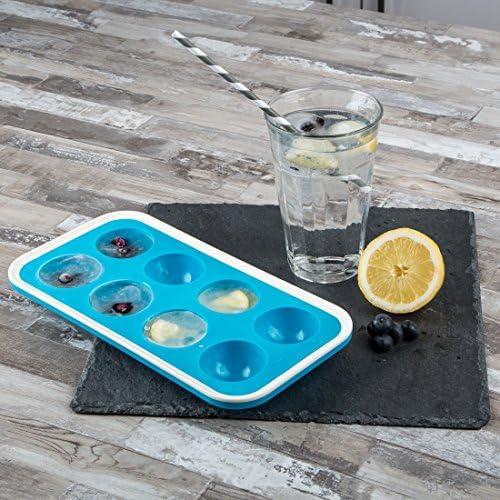 [Gesponsert]Levivo Silikon Eiswürfelform für 8 Halbkreise, 27 x 14 x 4 cm, Blau