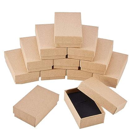 BENECREAT 24 Pack Superiores Cajas Joyeros de Cartòn para Pulsera Collar 8x5x2.7cm Marròn