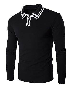 Genhao Men's Long Sleeve Slim Fit Lapel Polo Shirt black US M