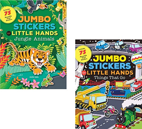 GBBD Preschool Vinyl Stickers and Books - Jumbo Stickers for Little Hands 2 Books (Jungle and Transportation)