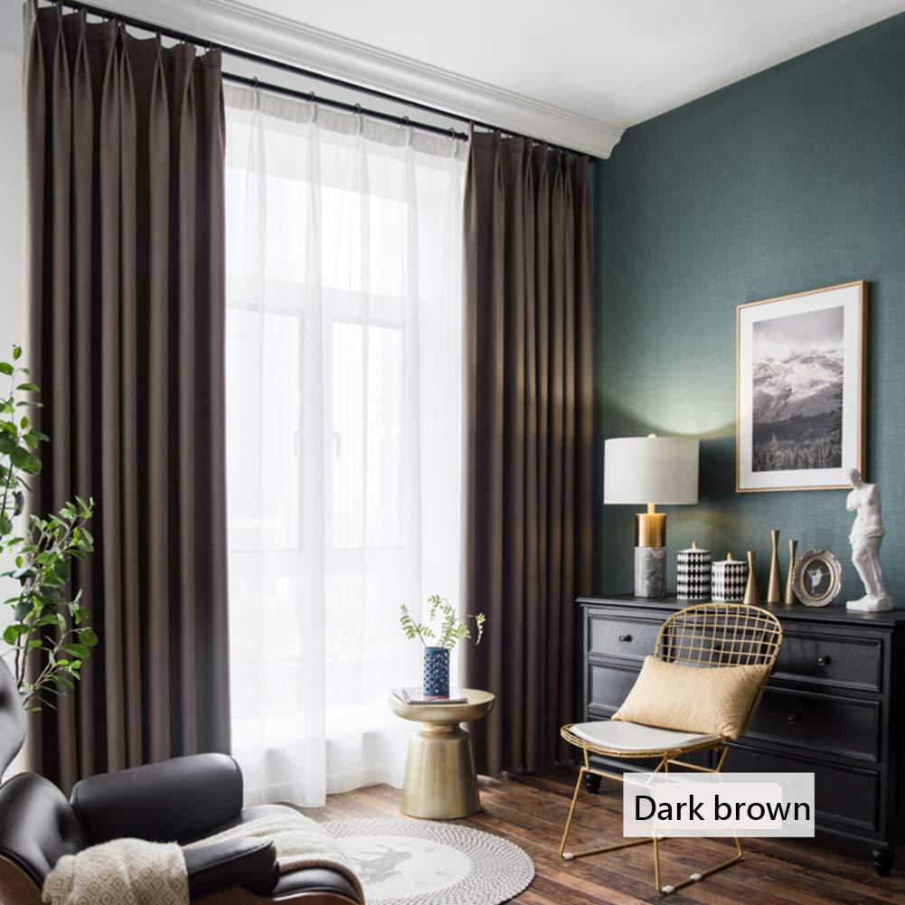 Be&xn Verdunkelungsgardinen mit Raffhalter, Gradient Streifen Lässige vorhänge mit Haken Für Wohnzimmer familienzimmer, Lange vorhänge Fenster, 1panel-Dunkelbraun 270x300cm(106x118inch)