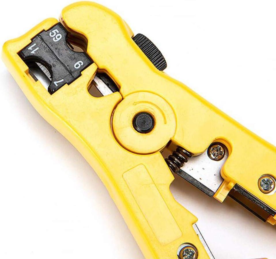 Xinlie Stripping Wire Strip Cable Stripper Herramienta de corte con cortador lateral para Cable Coaxial//Cable de Red//Cable de Ethernet//Cuchillas de Cortadora integradas//Separador con mango estable