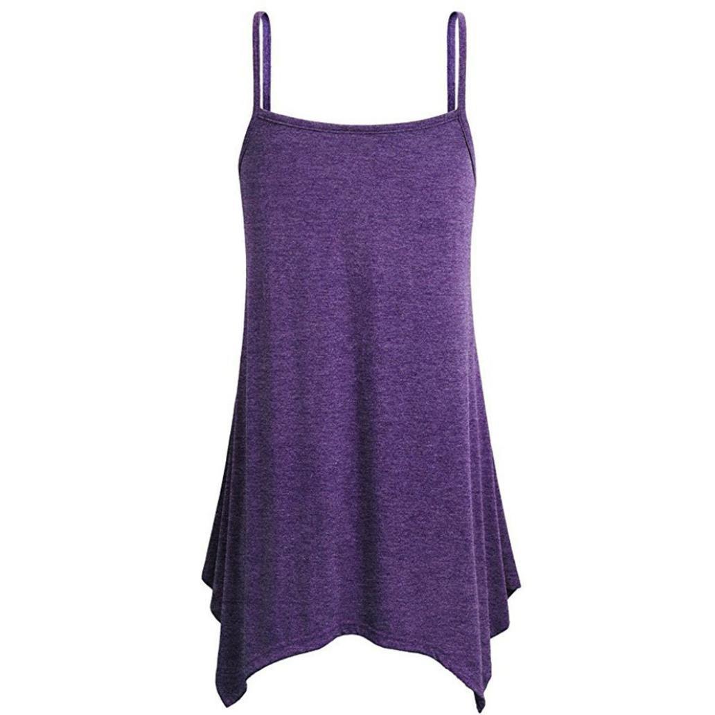 Sansee Womens Irregular Summer Loose V Neck Plain Cami Tank Tops Strappy Vest Blouse Sleeveless Tunic Tops