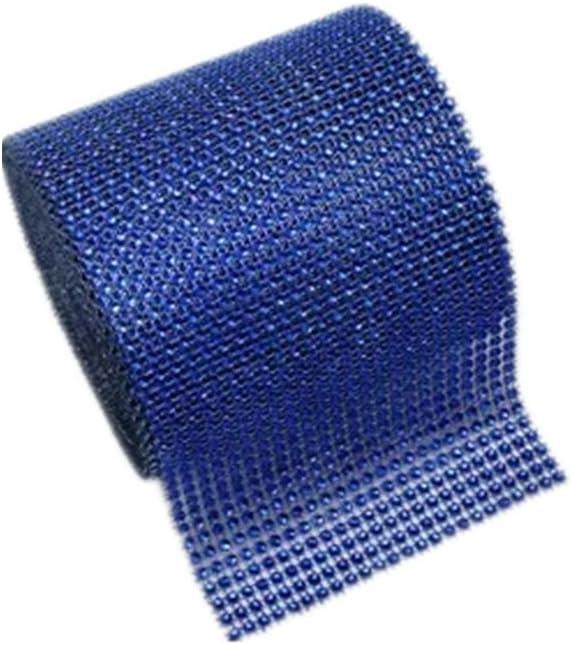 Diamond Rhinestone Mesh Ribbon Diamond Mesh Wrap Roll Sparkle Crystal Rhinestone Ribbon for Wedding Party Birthdays Baby Shower Decoration Black + blue
