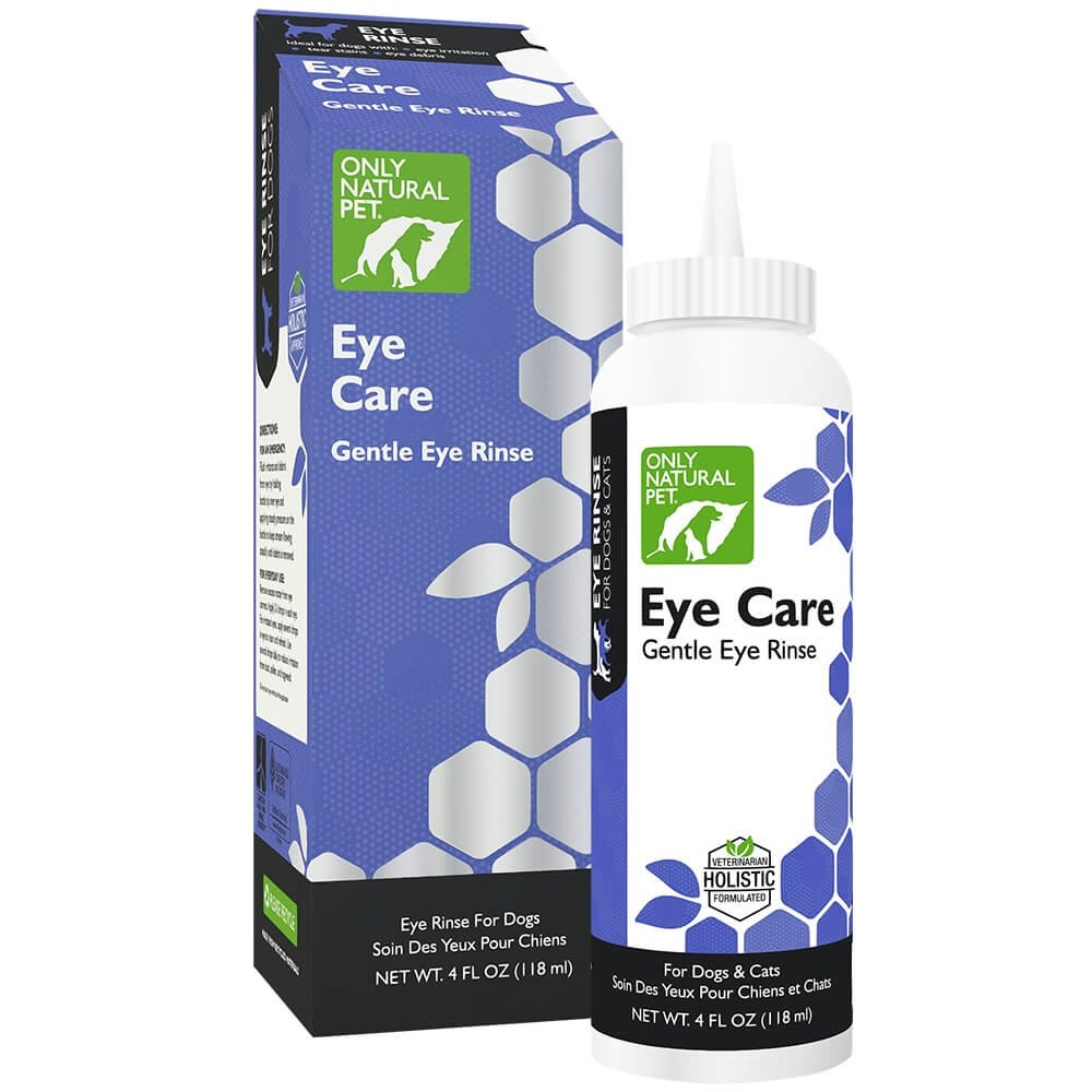 Only Natural Pet Eye Care - Gentle Eye Rinse for Dogs and Cats - Sterile Ophthalmic Solution Specially Formulated for Sensitive Eyes - 4 Fl Oz