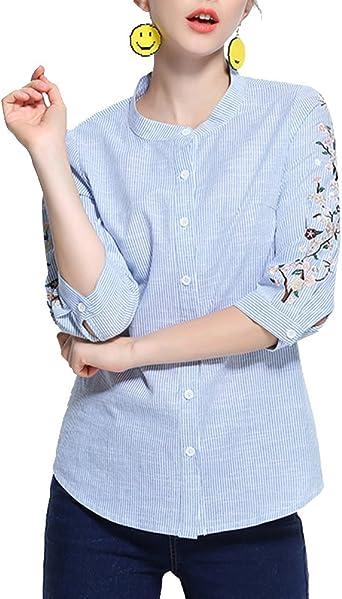 Camisa De Rayas Mujer Tallas Grandes 3/4 Manga Blusa con ...