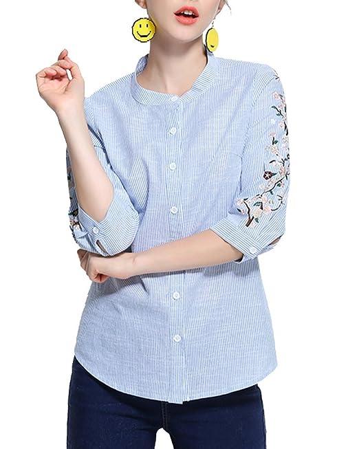 ShiFan Camisa De Rayas Mujer Tallas Grandes 3/4 Manga Blusa con Flores Bordado Azul