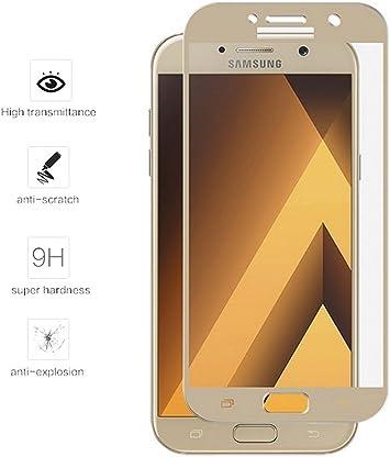 Tumundosmartphone Protector Cristal Templado Frontal Completo Dorado para Samsung Galaxy A5 (2017) Vidrio: Amazon.es: Electrónica
