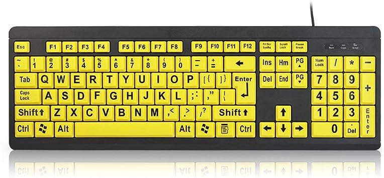 Teclado USB para ordenador, teclado con cable de alto contraste, letra grande, teclas amarillas compatibles con Windows y Mac 44.5x14.5x2.5cm