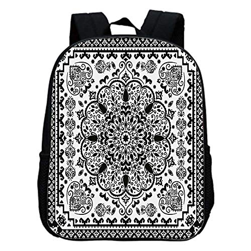 Ethnic Fashion Kindergarten Shoulder Bag,Ethnic Mandala Floral Lace Paisley Mehndi Design Tribal Lace Image Art Print Decorative For Hiking,One_Size