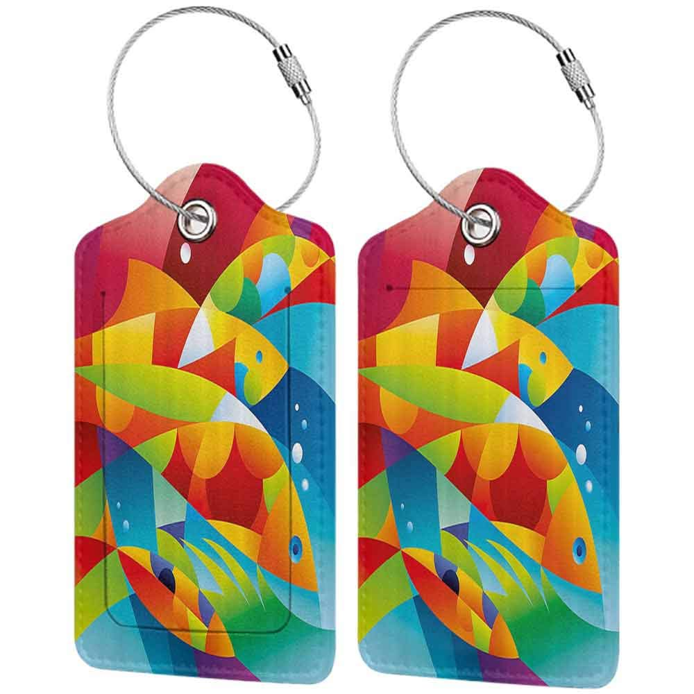 Soft luggage tag Colorful Home Decor Fractal Fish Diving into Sea Underwater Aquatic Inspired Maritime Image Bendable Orange Red W2.7 x L4.6