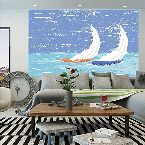 SoSung Sailboat Nautical Decor Wall Mural,Grunge Style Illustration of Two Racing Sailboats in A Windy Ocean Water Print,Self-Adhesive Large Wallpaper for Home Decor 55x78 inches,Light Blue -