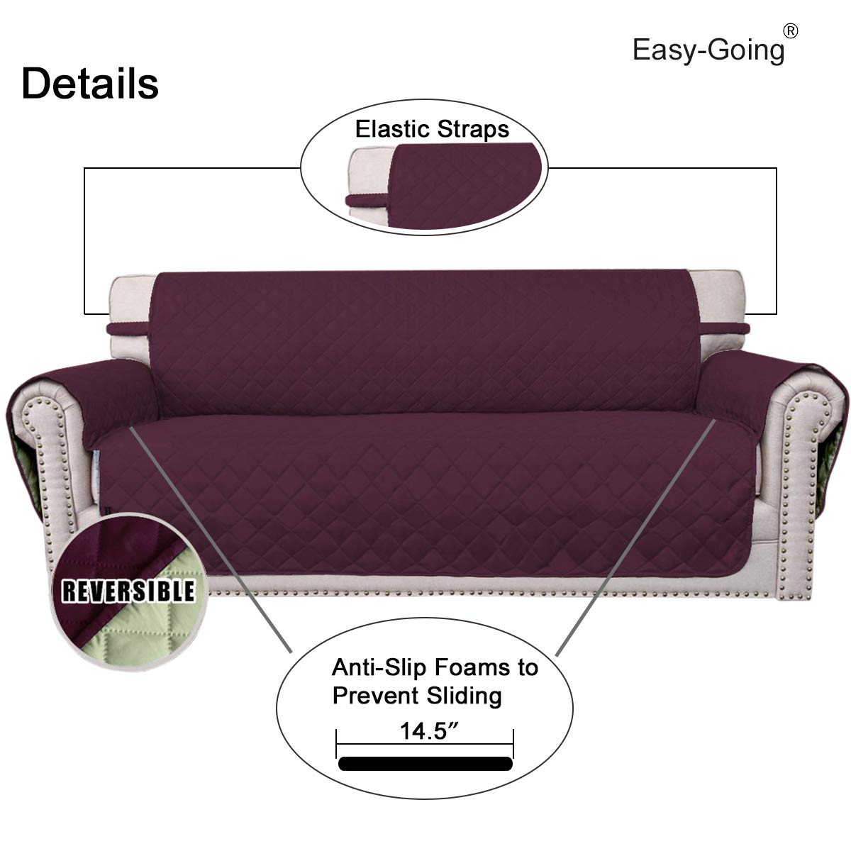 Easy-Going Sofa Slipcover Reversible Sofa Cover Furniture Protector Couch Cover Elastic Straps Pets/Kids/Children/Dog/Cat/ Oversized Sofa,/Chocolate//Beige