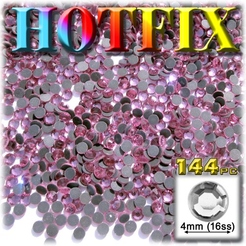 The Crafts Outlet DMC HOT-FIX Glass 144-Piece Round Rhinestone Embellishment, 4mm, Light Rose Pink ()