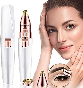 Afeitadora de cejas, 2 en 1, depiladora facial para mujer, para el vello de la cara, cejas, barbilla, labio superior, afeitadora segura y suave para mujer con luz LED integrada.: Amazon.es: Salud