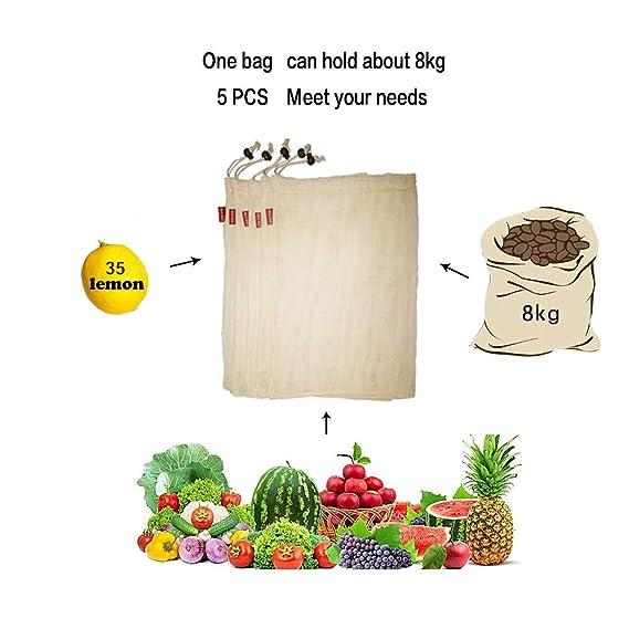 Woo Well Bolsas de Vegetales Reutilizables de algodón, Bolsas de Frutas y Vegetales, Bolsas de Malla Transpirables, Hermosas Bolsas de algodón Natural, ...