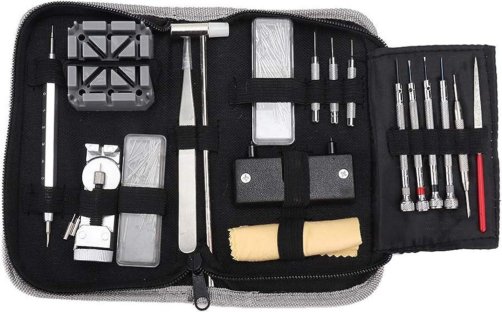 Kit de herramientas de reparación de relojero 255pcs, herramienta de reparación de relojes de pulsera herramienta de reparación de correa de reloj herramienta de reparación de removedor de pasador