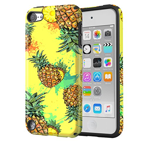 MoKo Case Fit iPod Touch 2019 Released iPod Touch 7 / iPod Touch 6 / iPod Touch 5, 2 in 1 Shock Absorbing TPU Bumper Ultra Slim Protective Case with Hard Back Cover - Pineapple (Gen Pineapple Ipod 4 Case)