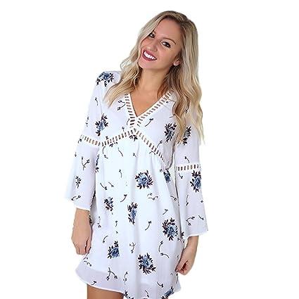 Iusun Women Chiffon Floral Printed Flare Long Sleeve Tops V Neck Long T  Shirt Blouse Mini 53b522fcb