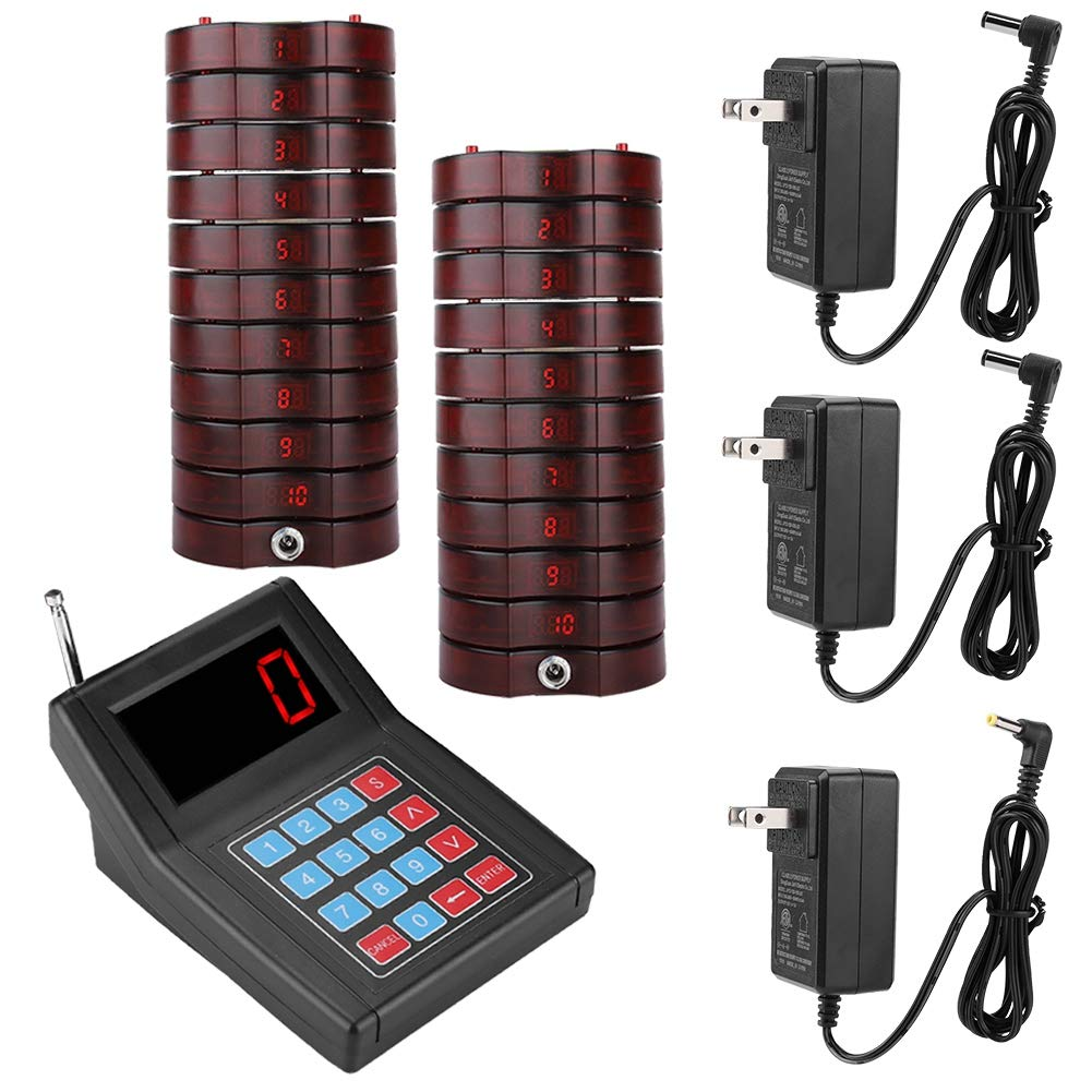 Restaurant Pager System,SU-668 Wireless Calling System,1.5km Long Range Paging System with 20 Coaster Pagers and 1 Wireless Numeric Keyboard Transmitter for Clinic Church Cafe Shop US