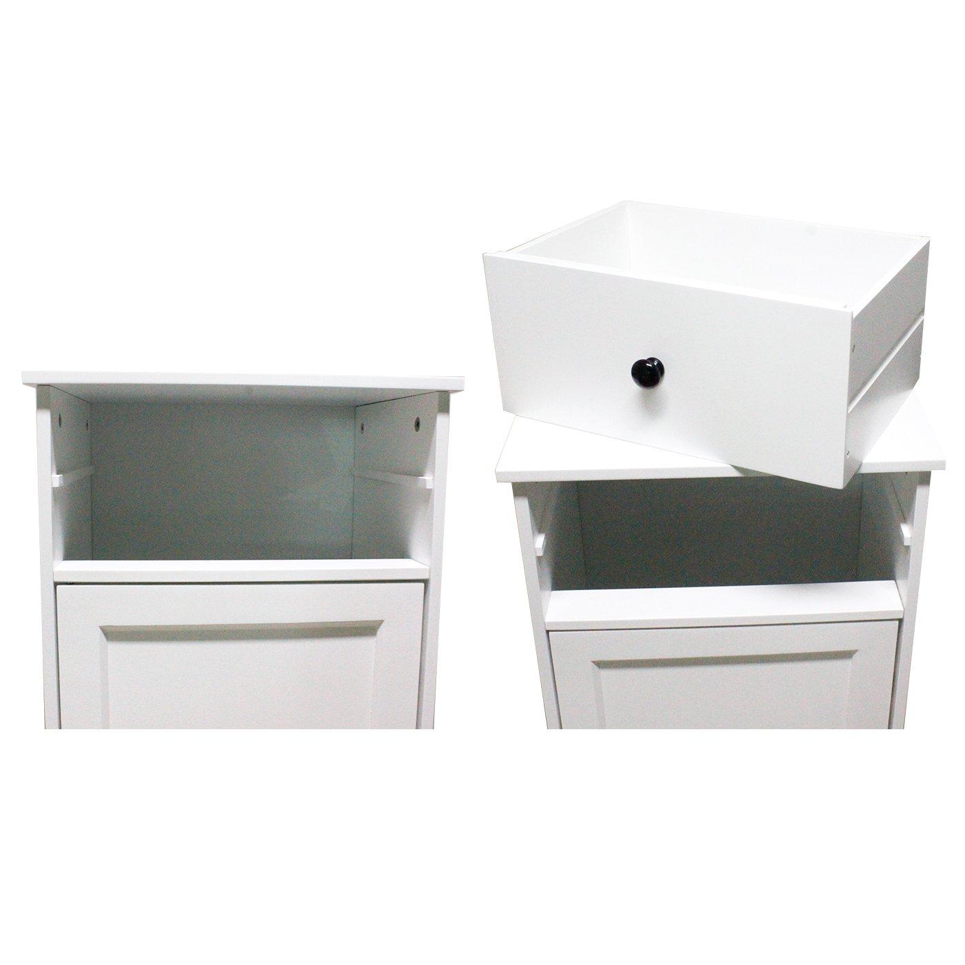 B40*T30*H90 Mobile da Bagno con Anta Singola con cassetti Armadietto da Bagno Moderno e Minimalista Bianco Realizzato in MDF ecocompatibile per Case e bagni di Piccole Dimensioni