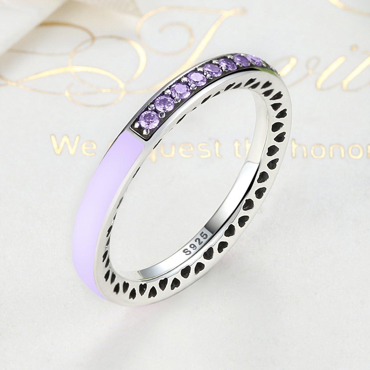 The Kiss Radiant Hearts 925 Sterling Silver Stackable Ring Lavender Enamel Enamel /& CZ